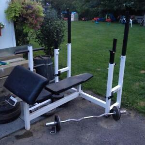 bench press + barre olympique