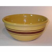 Large Yellow Ware Mixing Bowl with Bands