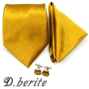 New Solid Mens Silk Tie Set Wedding Groom Party Dress Necktie Hanky Cufflinks ST