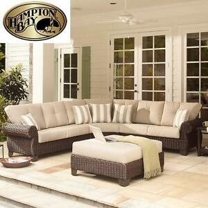 NEW HAMPTON BAY 4PC PATIO SET - 116681974 - SECTIONAL SET WITH PARCHMENT CUSHIONS