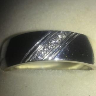 NEW Silver & Diamond Wedding Ring