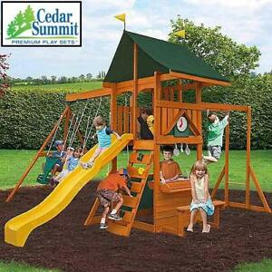 NEW CEDAR SUMMIT LAURENTIAN PLAYSET - 129482876 - WOODEN CEDAR LUMBER  PLAYGROUND PLAYSETS PLAYGROUNDS TREEHOUSE SWIN...