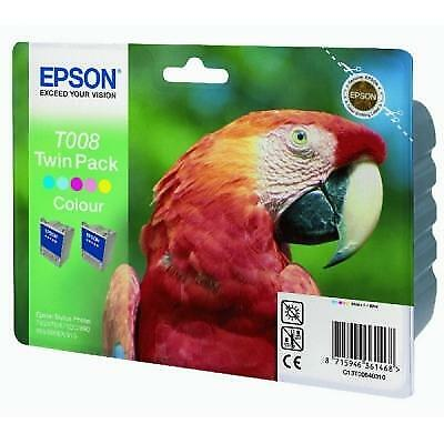 Epson inktpatroon T008 color dubbelpak ORIGINEEL Merkartikel