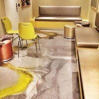 DIY Metallic Epoxy and Flake Flooring