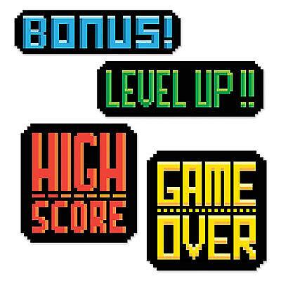 Multicolor 8-Bit Action Sign Cutouts - 8 Bit Decorations