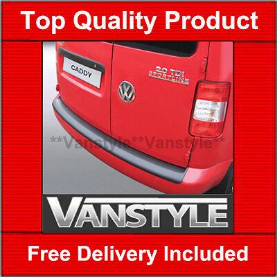 VW CADDY / MAXI 04-10 &10-15 REAR BUMPER PROTECTOR TOUGH ABS BLACK STOPS DAMAGE