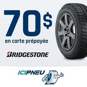 70$ en carte prépayée VisaMD Bridgestone à l'achat de 4 pneus Bridgestone sélectionnés