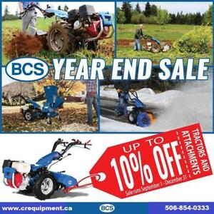 Save 10% on all BCS Two-Wheel Tractors from CR Equipment!