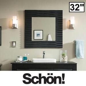 """NEW SCHON ZUVITRIA WALL MIRROR - 127338714 - 32"""" x 32"""" BLACK MIRRORS BATH BATHROOM HANGING DECOR TEXTURED FRAME"""
