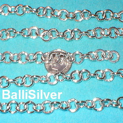 Round Hollow Rolo Chain - 3 feet BULK Sterling Silver 8mm Hollow Round ROLO Chain