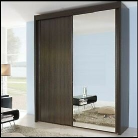 Rauch Imperial Sliding Door Wardrobe With Mirror in Wenge