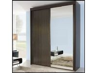 Rauch Imperial Sliding Door Wardrobe With Mirror in Wenge