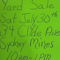 YARD SALE TODAY @ 10AM-1PM . . . 34 CLYDE AVENUE SYDNEY MINES