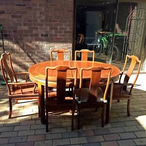 Extendable rosewood dining table with 8 chairs Eastlakes Botany Bay Area Preview