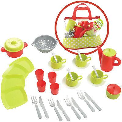 Ecoiffier Puppengeschirr m. Tasche Kindergeschirr Kinderküche Geschirr Spielzeug