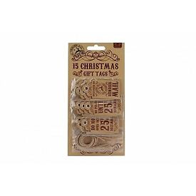 Pack Of 15 Merry Christmas Tags - Dimensions Tags: H: 6Cm W: 3Cm £2.45 Plus P&P