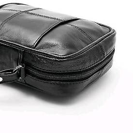 Unisex Black Real Leather Shoulder Bag