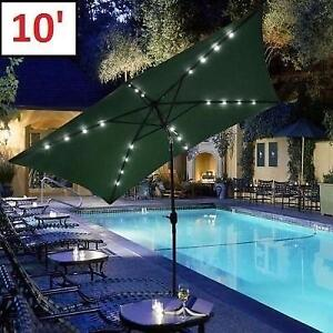 NEW* 10' OFFSET LED PATIO UMBRELLA - 124916139 - W/ SOLAR LIGHTS AND BASE FOREST GREEN