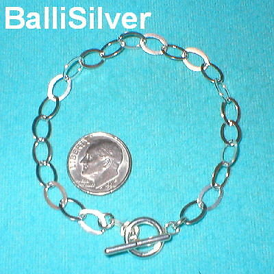 12 pieces Sterling Silver 925 6x8mm Flat CABLE Chain Toggle BRACELETS Wholesale