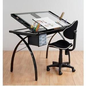 NEW* SD FUTURA CRAFT STATION - 123618879 - DRAFTING TABLE STUDIO DESIGNS BLACK AND CLEAR GLASS