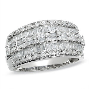 1.00 CTTW Baguette and Round Diamond 3 Row Ring 10K White Gold