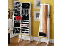 Like New White Cheval Freestanding Standing Mirror & Jewellery & Accessories Storage Cabinet Inside