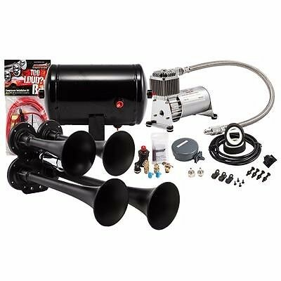 ALL MAKES DODGE FORD CHEVY KLEINN HK4 1 BLACK QUAD AIR HORN KIT