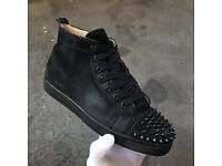 Authentic Christian Louboutin 7 41 Black Suede Leather White Spikes Strass Bleu
