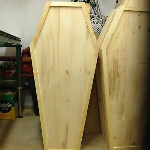 Assorted 3, 4 and 5 foot pine coffins for Halloween decoration