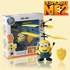 Despicable Me Movie Figure Flying Minion Sensor Control Helicopter Toys