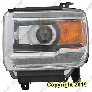 Headlight Driver Side Halogen With Led Chrome [1500 2014-2015] [Gc-Ceg/Mtd Sierra/Denali 2500/3500 2015-2016] High Quali