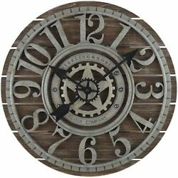 Sterling & Noble 23.5 Shiplap Farmhouse Wood Wall Clock - Wooden