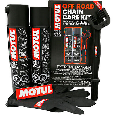Motul Chain Care Kit - Contains Gloves, Lube, Clean, Brush - Off-Road - 109788