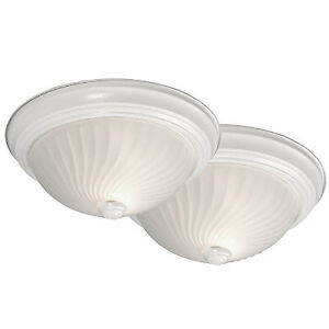White Flush Mount light With Frosted Glass
