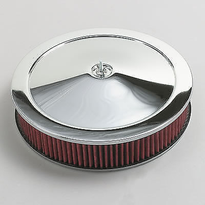 14' Chrome Air Cleaner - CHROME AIR CLEANER WASHABLE RED FILTER 14