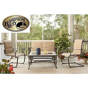 NEW HB 4PC PATIO SEATING SET - 126159930 - HAMPTON BAY 4 PIECES BELLEVILLE PADDED SLING