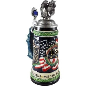 USA Ceramic German Beer Stein with Pewter Lid & Eagle