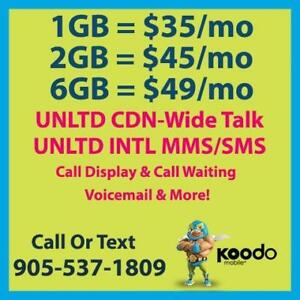 $48/mo 6GB LTE + Unlimited Canada-Wide Talk & Text ~ Koodo&Telus Plans By Cell Phone Guru