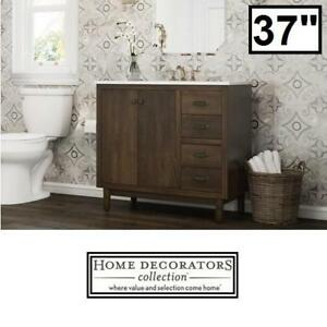 "NEW 37"" MARBLE VANITY COMBO - 121974826 - HOME DECORATORS COLLECTION BRISBANE WEATHERED OAK BATHROOM CABINET CABINETS..."