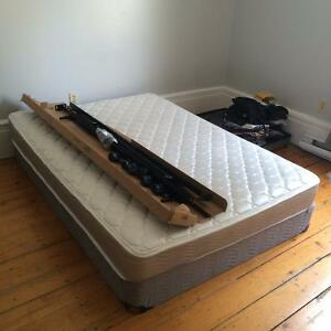 Near new double mattress, boxspring and bedframe