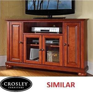 "NEW CROSLEY CORNER TV STAND - 108321965 - CORNER TV STAND UP TO 48"" TVS - CHERRY"