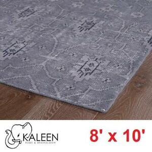 NEW KALEEN RESTORATION AREA RUG - 125139561 - GREY HAND KNOTTED 8' x 10' RUGS CARPET CARPETS FLOORING DECOR ACCENTS M...