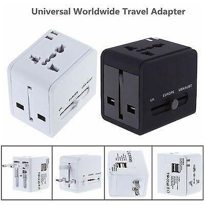 Universal Worldwide Travel Power Plug Wall AC Adapter Charger with Dual USB Charging Ports