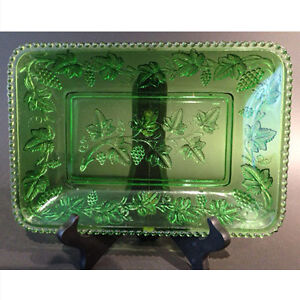 "EAPG (Early American Pattern Glass) green platter in the ""Beaded"