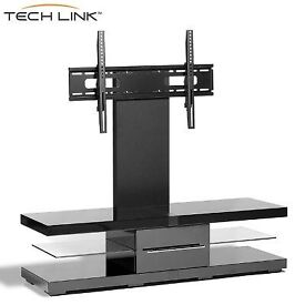 Techlink Black Gloss & Glass Cantilever Tv Stand £60 RRP is 349