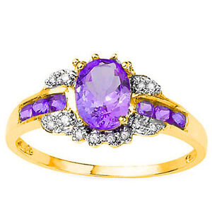 CHARMING ! 1 CARAT (7 PCS) AMETHYST & (8 PCS) DIAMOND 10KT SOLID