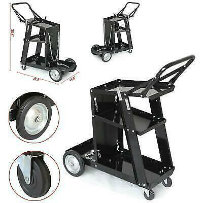Heavy Duty Mig Tig Arc Welder Welding Cart Universal Storage For Tanks Black