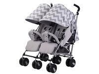My Babiie MB22 Twin Double Pushchair Stroller Grey Chevron