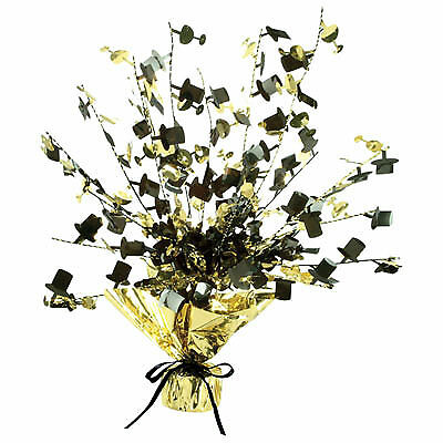 Black and Gold Champagne Glass & Top Hat - Top Hat Centerpiece