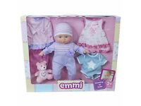 Xmas gift- Brand new in unopened box- Doll set- Emmi Dressing up baby with outfits and teddy bear